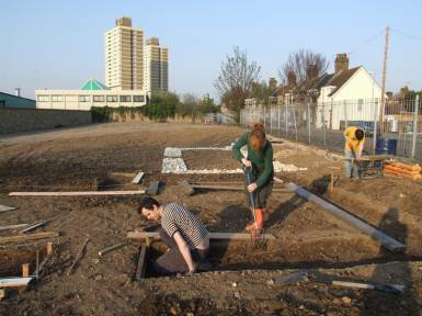 Karen, Tim & Jon hard at it on site.
