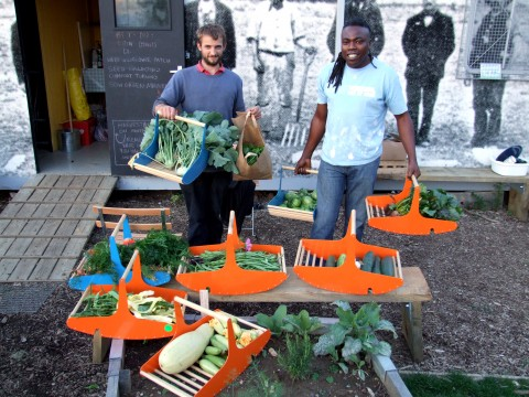 Hamish & Gary with the produce for Saturday